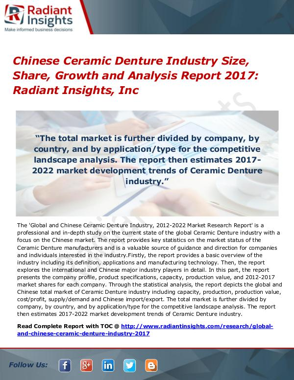 Chinese Ceramic Denture Industry Size, Share, Growth 2017 Chinese Ceramic Denture Industry Size, Share 2017