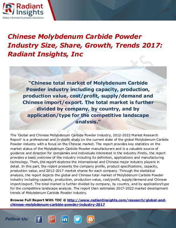 Chinese Molybdenum Carbide Powder Industry Size, Share, Growth 2017 Chinese Molybdenum Carbide Powder Industry 2017