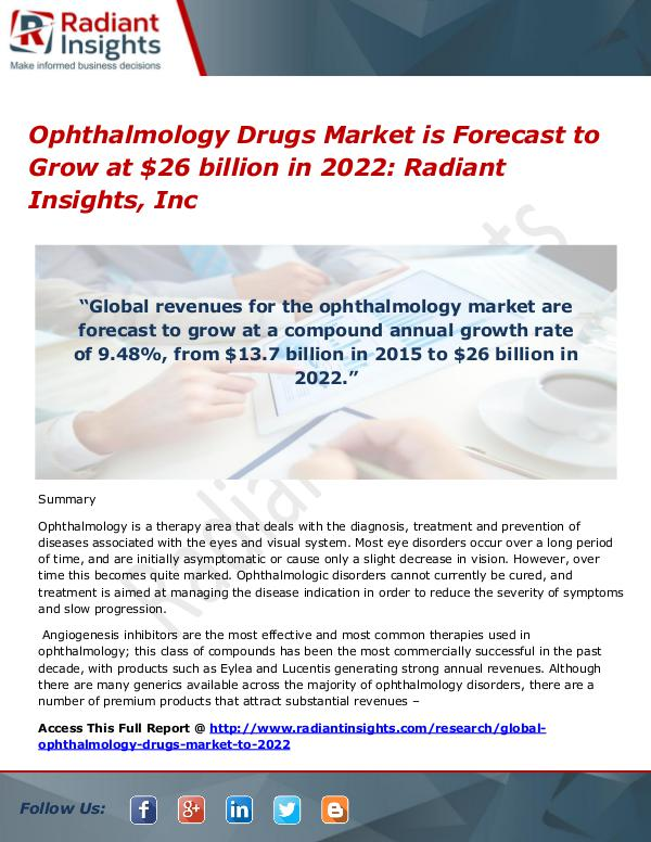 Ophthalmology Drugs Market is Forecast to Grow at $26 billion in 2022 Ophthalmology Drugs Market is Forecast to 2022