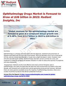 Ophthalmology Drugs Market is Forecast to Grow at $26 billion in 2022