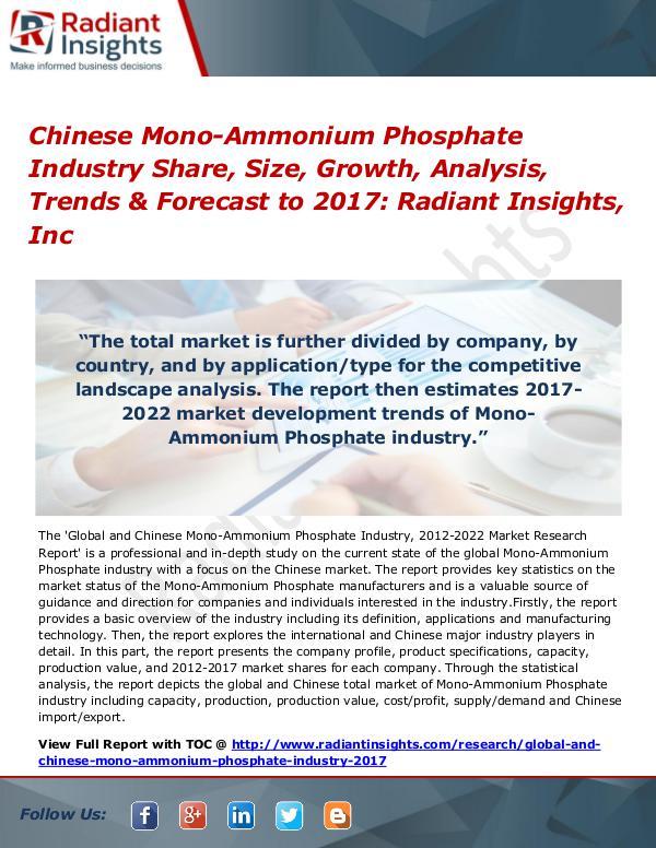 Chinese Mono-Ammonium Phosphate Industry Share, Size, Growth 2017 Chinese Mono-Ammonium Phosphate Industry 2017