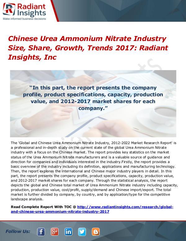 Chinese Urea Ammonium Nitrate Industry Share, Growth, Trend 2017 Chinese Urea Ammonium Nitrate Industry Size 2017