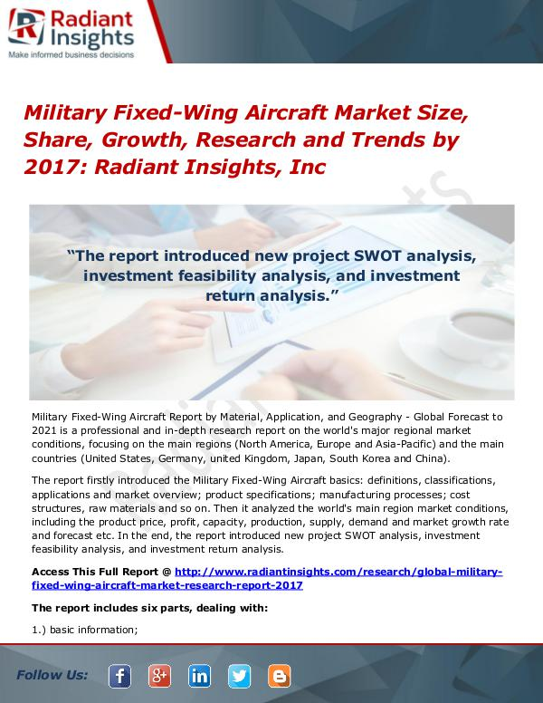 Military Fixed-Wing Aircraft Market Size, Share, Growth 2017 Military Fixed-Wing Aircraft Market Size 2017