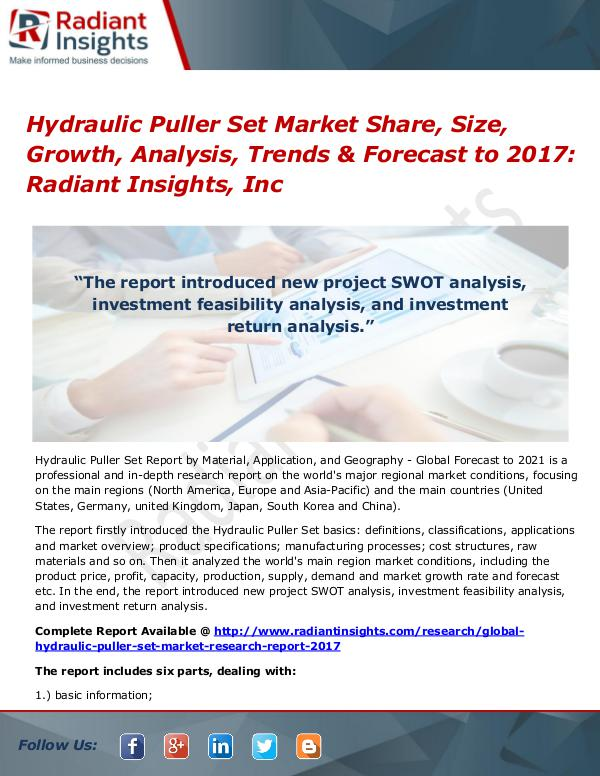 Hydraulic Puller Set Market Share, Size, Growth, Analysis, Trend 2017 Hydraulic Puller Set Market Share, Size 2017