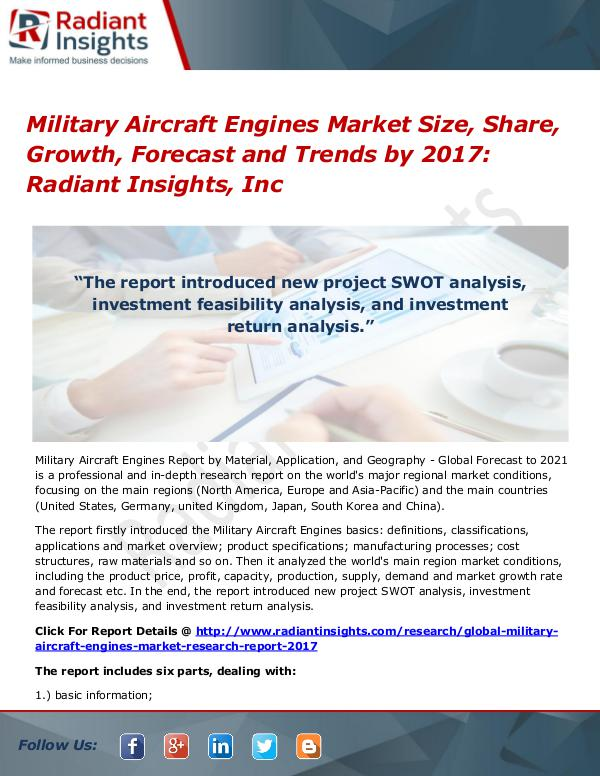 Military Aircraft Engines Market Size, Share, Growth, Forecast 2017 Military Aircraft Engines Market Size, Share 2017