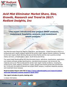 Acid Mist Eliminator Market Share, Size, Growth, Research 2017