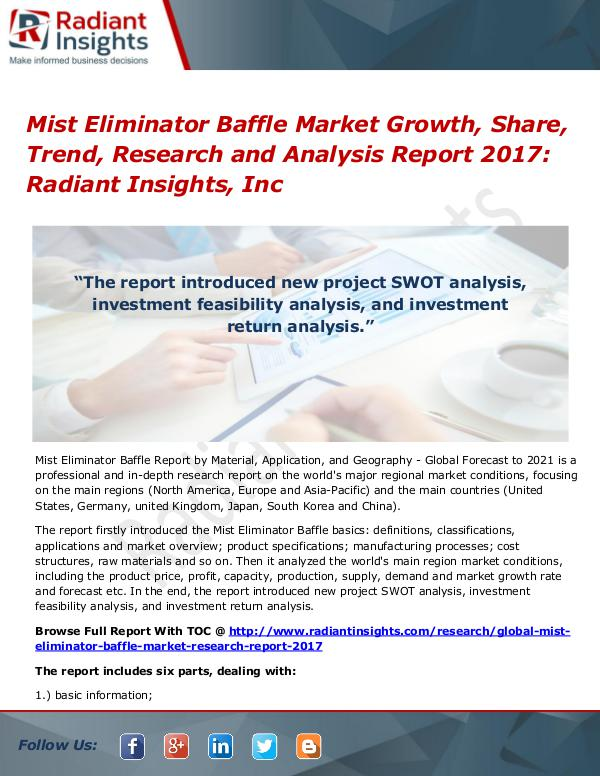 Mist Eliminator Baffle Market Growth, Share, Trend, Research 2017 Mist Eliminator Baffle Market Growth, Share 2017