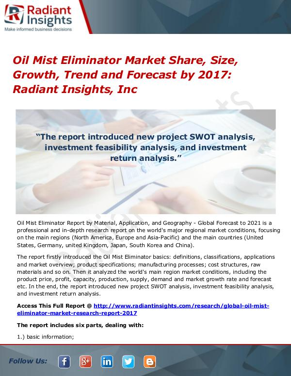Oil Mist Eliminator Market Share, Size, Growth, Trend 2017 Oil Mist Eliminator Market Share, Size, Growth2017