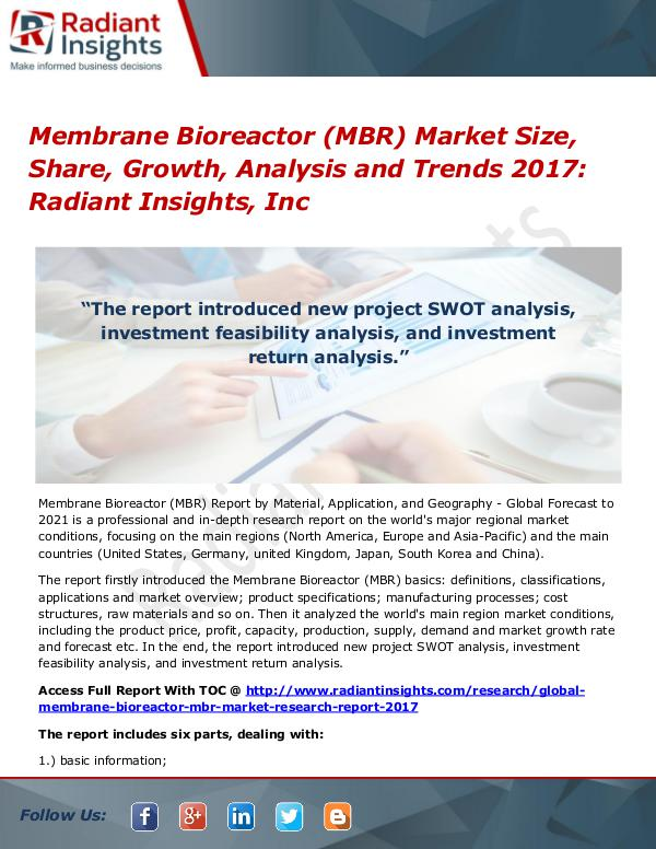 Membrane Bioreactor (MBR) Market Size, Share, Growth, Analysis 2017 Membrane Bioreactor (MBR) Market Size, Share 2017