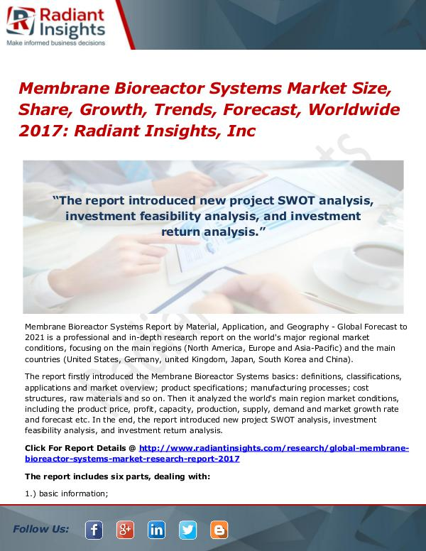 Membrane Bioreactor Systems Market Size, Share, Growth, Trends 2017 Membrane Bioreactor Systems Market Size 2017