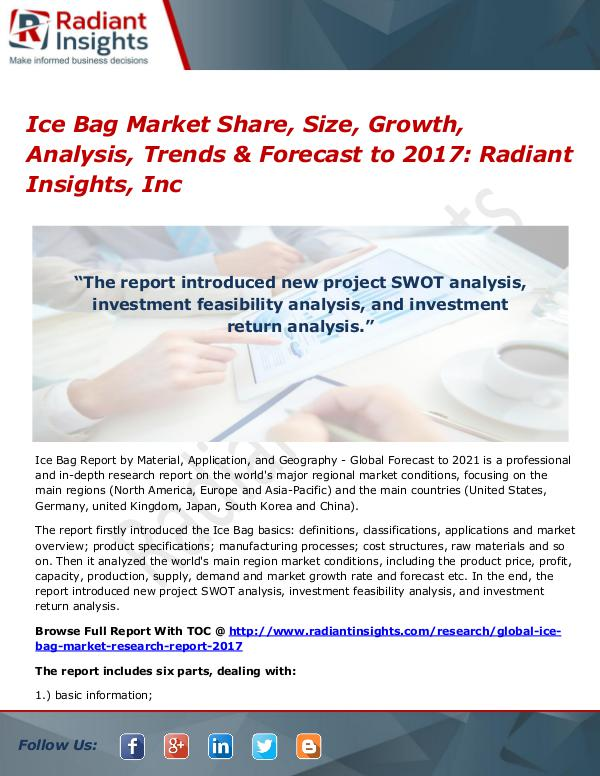 Ice Bag Market Share, Size, Growth, Analysis, Trends & Forecast 2017 Ice Bag Market Share, Size, Growth, Analysis 2017