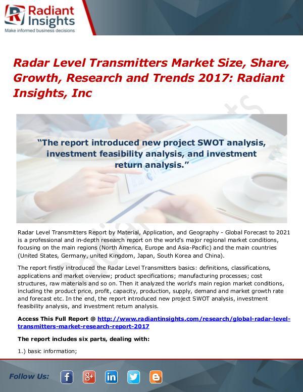 Radar Level Transmitters Market Size, Share, Growth, Research 2017 Radar Level Transmitters Market Size, Share 2017