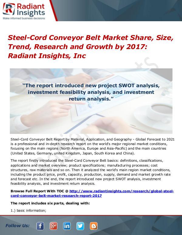 Steel-Cord Conveyor Belt Market Share, Size, Trend, Research 2017 Steel-Cord Conveyor Belt Market Share, Size 2017
