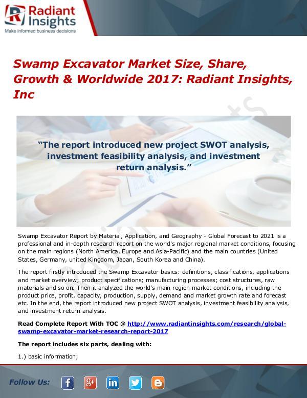 Swamp Excavator Market Size, Share, Growth & Worldwide 2017 Swamp Excavator Market Size, Share, Growth 2017