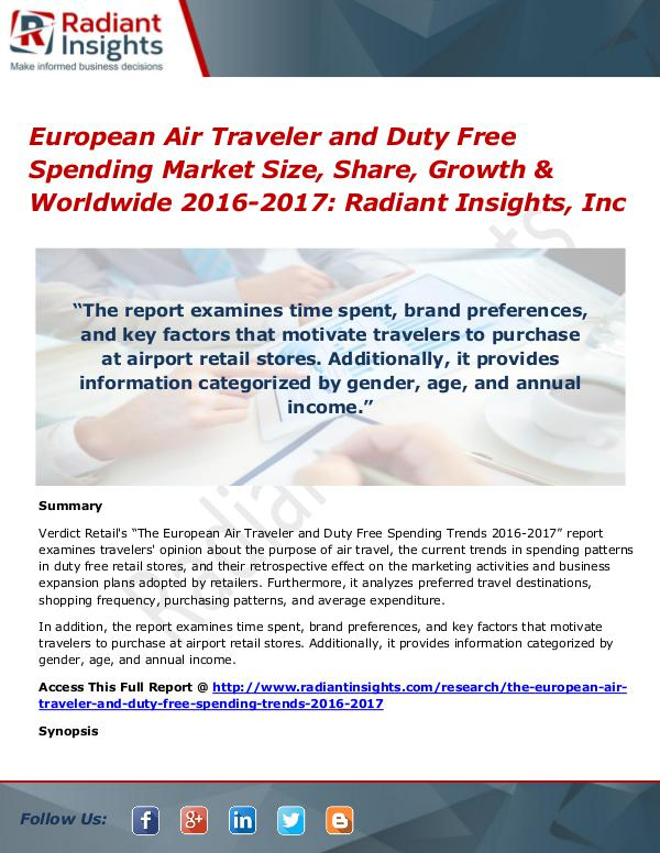 European Air Traveler and Duty Free Spending Market Size, Share 2017 European Air Traveler and Duty Free SpendingMarket