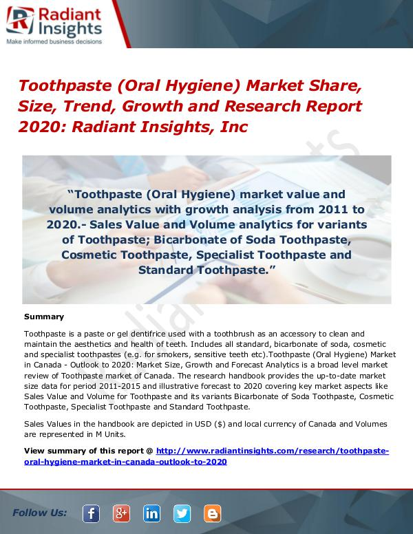 Toothpaste (Oral Hygiene) Market Share, Size, Trend, Growth 2020 Toothpaste (Oral Hygiene) Market Share, Size 2020