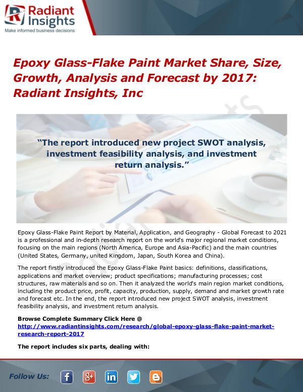 Epoxy Glass-Flake Paint Market Share, Size, Growth, Analysis 2017 Epoxy Glass-Flake Paint Market Share, Size 2017