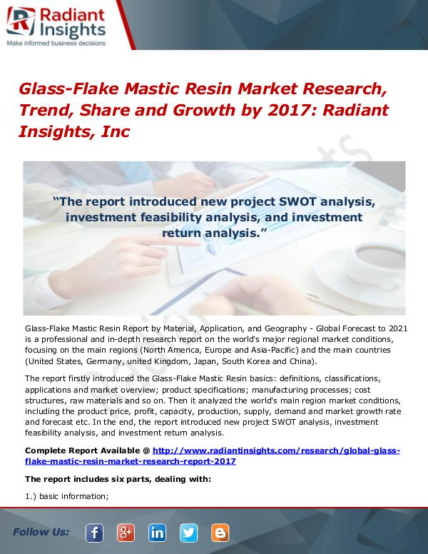 Glass-Flake Mastic Resin Market Research, Trend, Share & Growth 2017 Glass-Flake Mastic Resin Market Research 2017