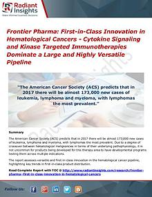Frontier Pharma First-In-Class Innovation in Hematological Cancers