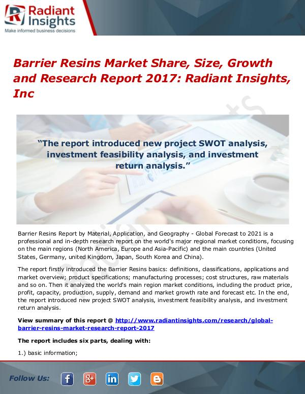 Barrier Resins Market Share, Size, Growth and Research Report 2017 Barrier Resins Market Share, Size, Growth 2017