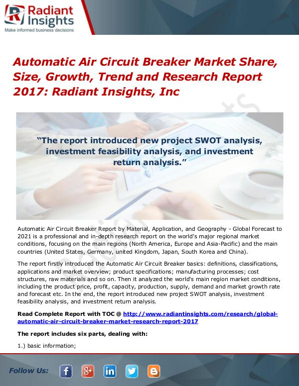 Automatic Air Circuit Breaker Market Share, Size, Growth, Trend 2017 Automatic Air Circuit Breaker Market Share 2017