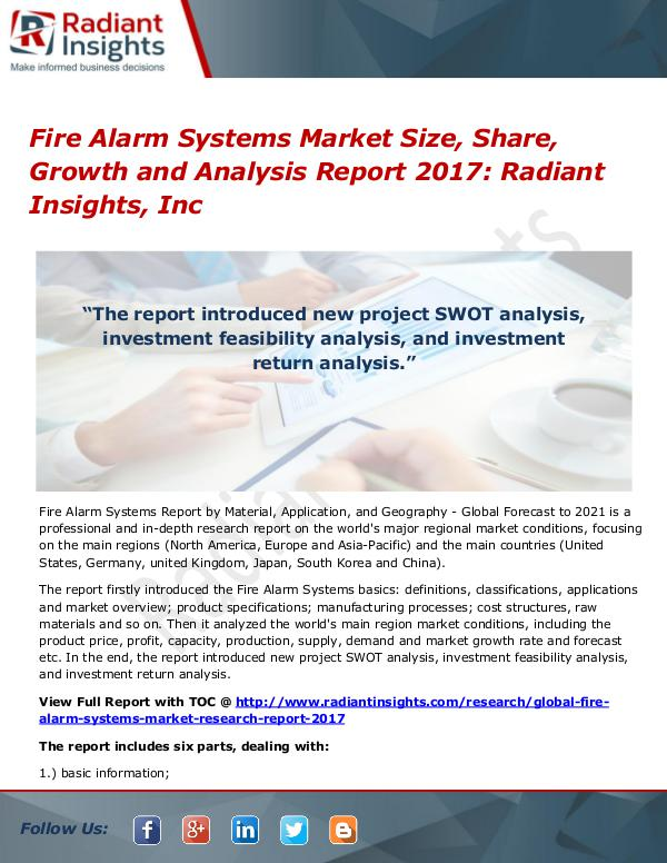 Fire Alarm Systems Market Size, Share, Growth and Analysis 2017 Fire Alarm Systems Market Size, Share, Growth 2017