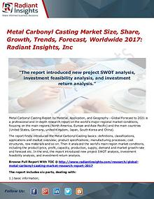 Metal Carbonyl Casting Market Size, Share, Growth, Trends 2017