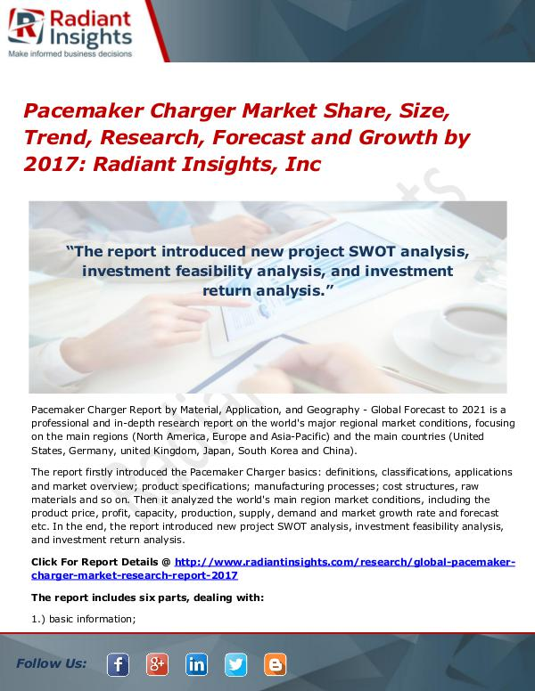 Pacemaker Charger Market Share, Size, Trend, Research, Forecast 2017 Pacemaker Charger Market Share, Size, Trend 2017