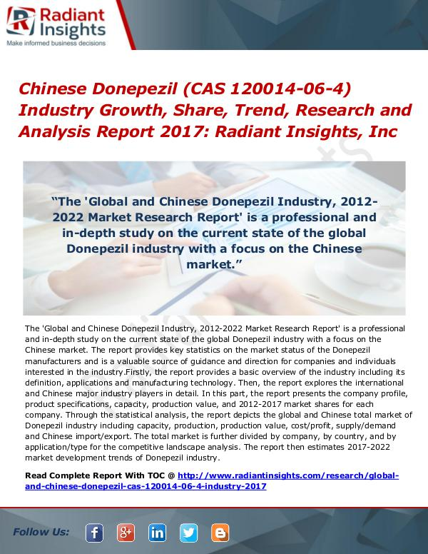 Chinese Donepezil (CAS 120014-06-4) Industry Growth, Share 2017 Chinese Donepezil (CAS 120014-06-4) Industry 2017