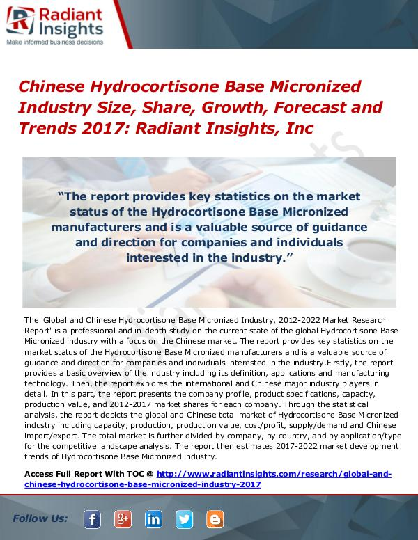 Chinese Hydrocortisone Base Micronized Industry Size, Share 2017 Chinese Hydrocortisone Base Micronized Industry