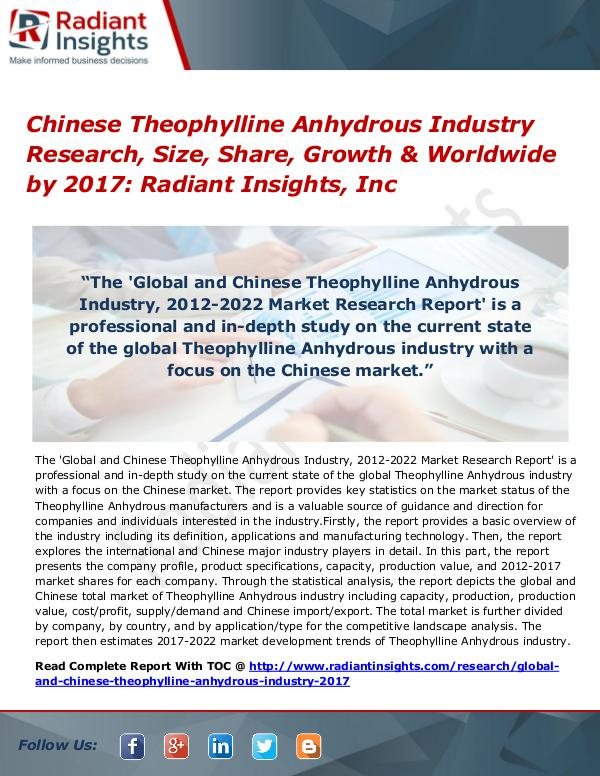 Chinese Theophylline Anhydrous Industry Research, Size, Share 2017 Chinese Theophylline Anhydrous Industry 2017
