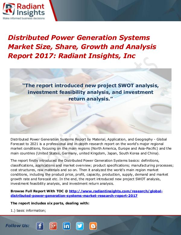 Distributed Power Generation Systems Market Size, Share, Growth 2017 Distributed Power Generation Systems Market 2017