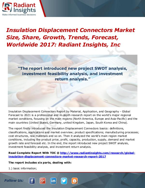 Insulation Displacement Connectors Market Size, Share, Growth 2017 Insulation Displacement Connectors Market 2017