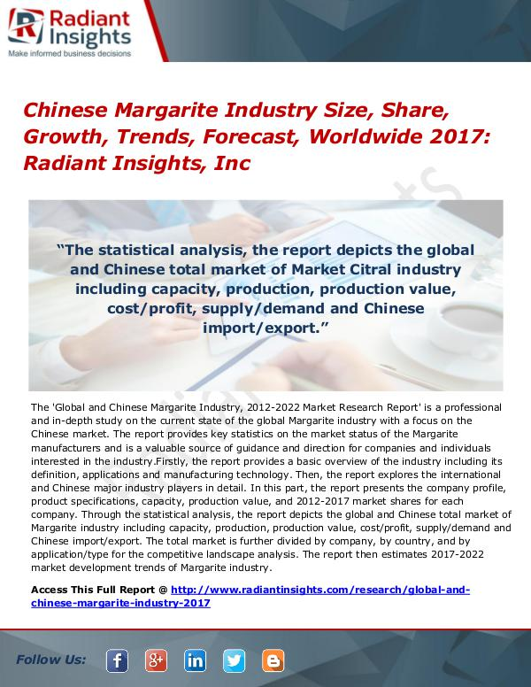 Chinese Margarite Industry Size, Share, Growth, Trends, Forecast 2017 Chinese Margarite Industry Size, Share 2017
