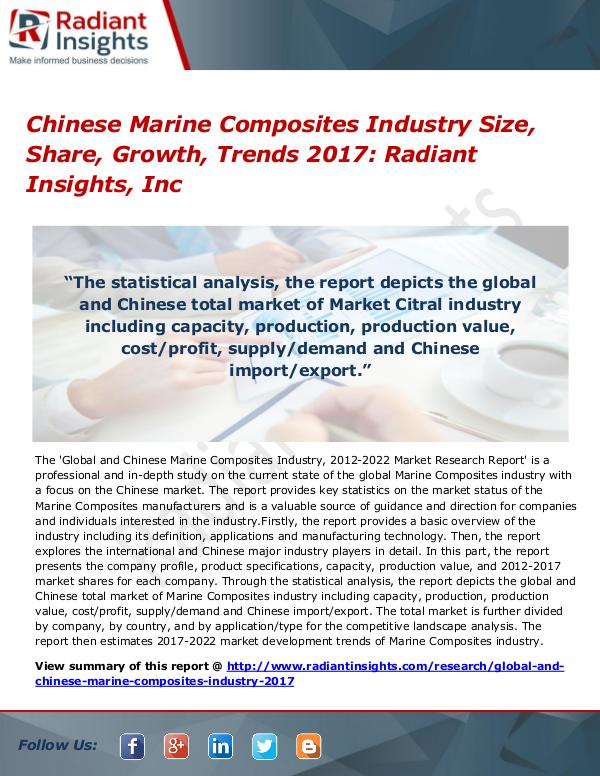 Chinese Marine Composites Industry Size, Share, Growth, Trends 2017 Chinese Marine Composites Industry Size 2017