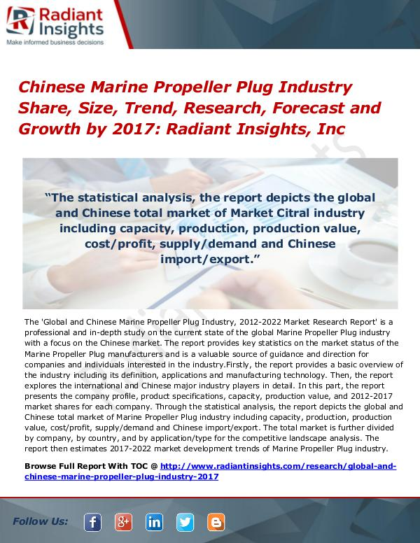 Chinese Marine Propeller Plug Industry Share, Size, Trend 2017 Chinese Marine Propeller Plug Industry Share 2017