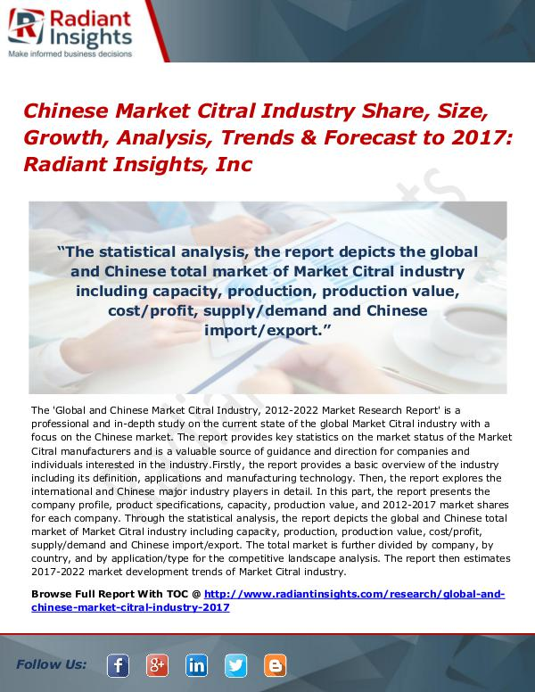 Chinese Market Citral Industry Share, Size, Growth, Analysis 2017 Chinese Market Citral Industry Share, Size 2017
