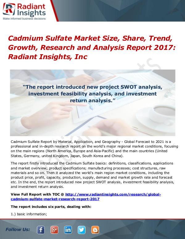 Cadmium Sulfate Market Size, Share, Trend, Growth, Research 2017 Cadmium Sulfate Market Size, Share, Trend 2017