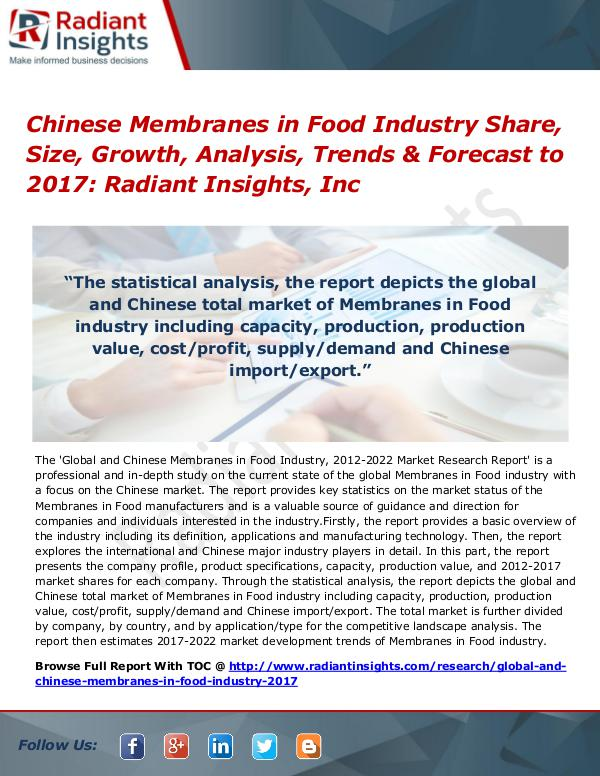 Chinese Membranes in Food Industry Share, Size, Growth, Analysis 2017 Chinese Membranes in Food Industry Share 2017