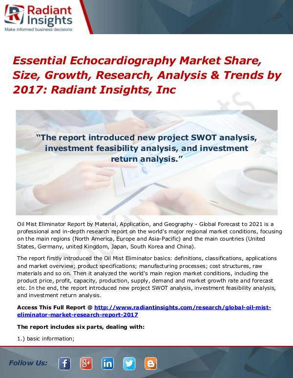 Essential Echocardiography Market Share, Size, Growth, Research 2017 Essential Echocardiography Market Share, Size 2017