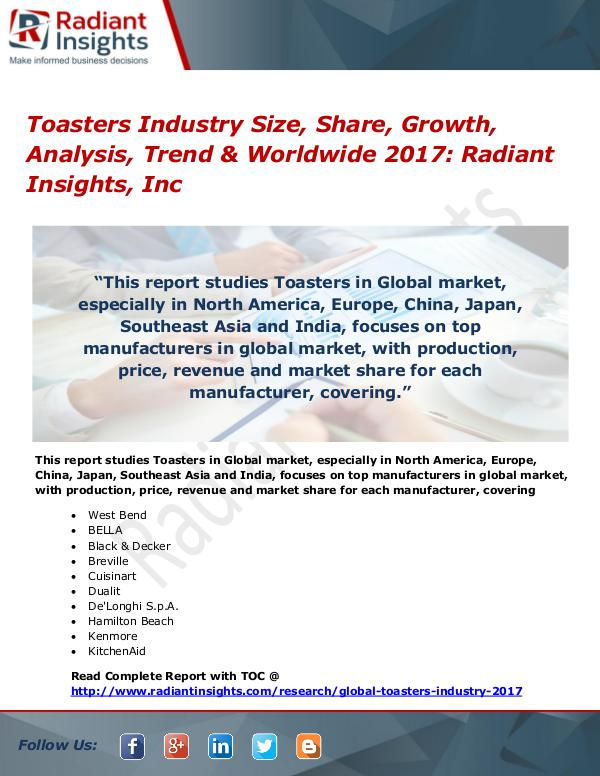 Toasters Industry Size, Share, Growth, Analysis, Trend 2017 Toasters Industry Size, Share, Growth 2017