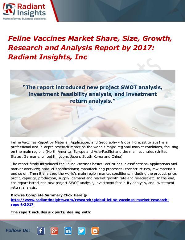 Feline Vaccines Market Share, Size, Growth, Research 2017 Feline Vaccines Market Share, Size, Growth 2017