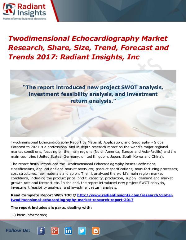 Twodimensional Echocardiography Market Research, Share, Size 2017 Twodimensional Echocardiography Market 2017