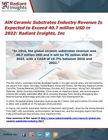 AlN Ceramic Substrates Industry Revenue Is Expected to Exceed 40.7