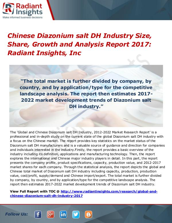Chinese Diazonium salt DH Industry Size, Share, Growth 2017 Chinese Diazonium salt DH Industry Size 2017