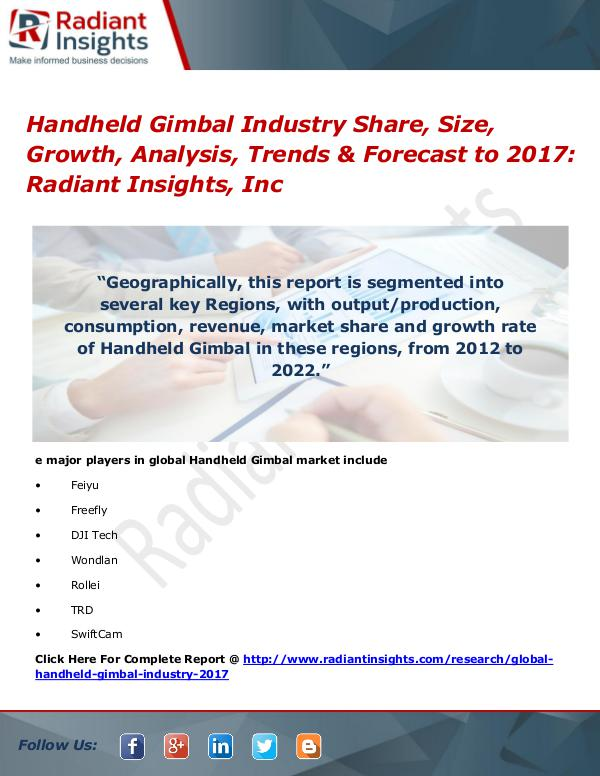 Handheld Gimbal Industry Share, Size, Growth, Analysis, Trends 2017 Handheld Gimbal Industry Share, Size, Growth 2017