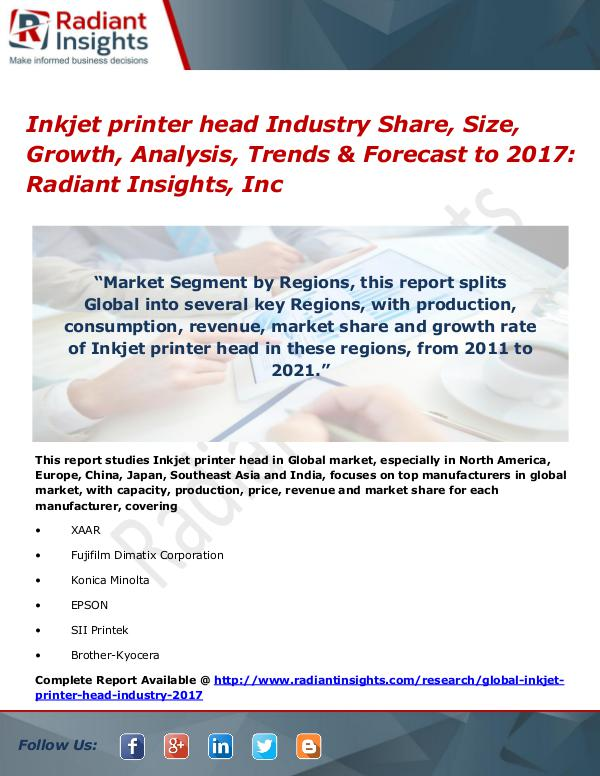 Inkjet printer head Industry Share, Size, Growth, Analysis 2017 Inkjet printer head Industry Share, Size 2017