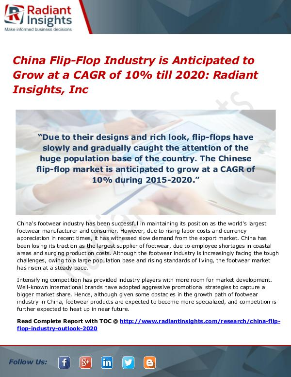 China Flip-Flop Industry is Anticipated to Grow at a CAGR of 10% China Flip-Flop Industry 2020