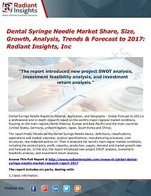 Dental Syringe Needle Market Share, Size, Growth, Analysis 2017