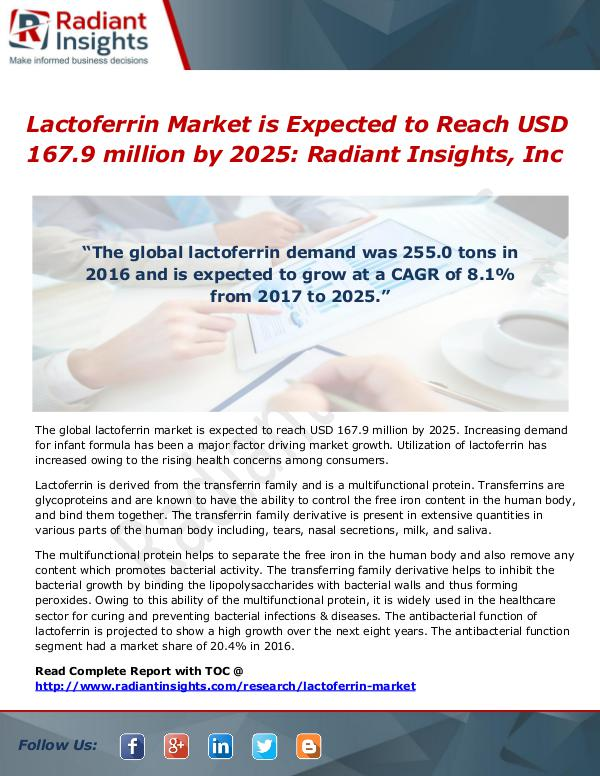 Lactoferrin Market is Expected to Reach USD 167.9 million by 2025 Lactoferrin Market is Expected to Reach USD 167.9